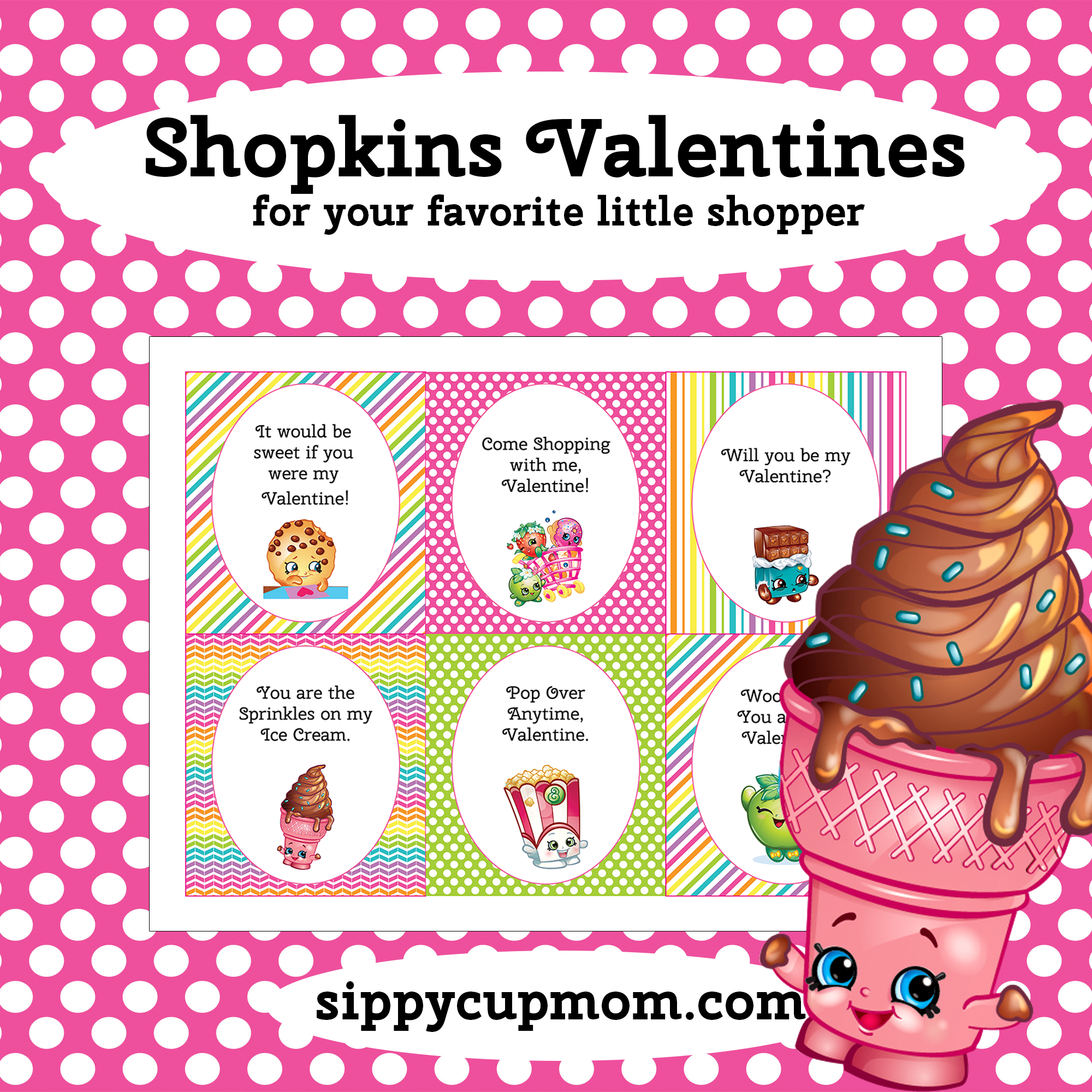 Free Printable Shopkins Valentine's Day Cards - Sippy Cup Mom - Free Printable Valentines Day Cards For My Daughter