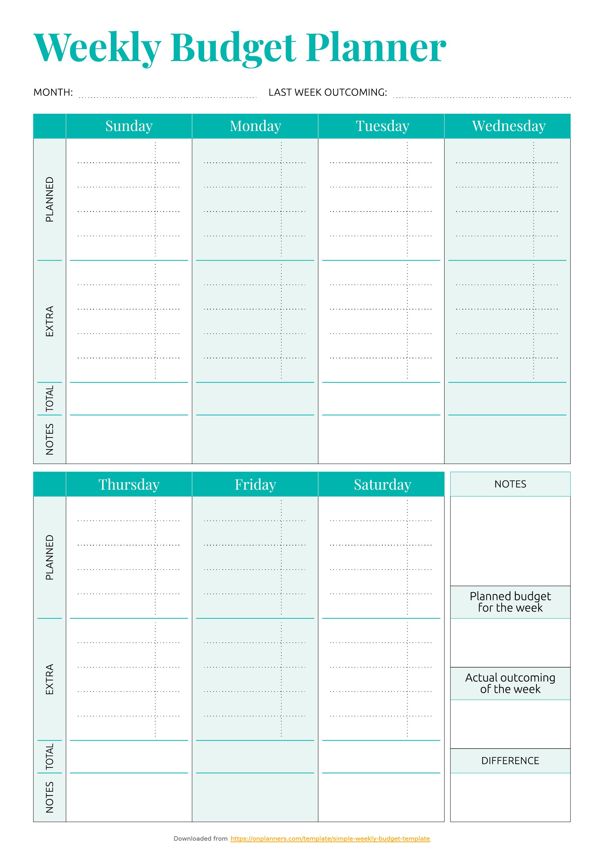 Free Printable Simple Weekly Budget Template Pdf Download - Free Printable Budget Templates