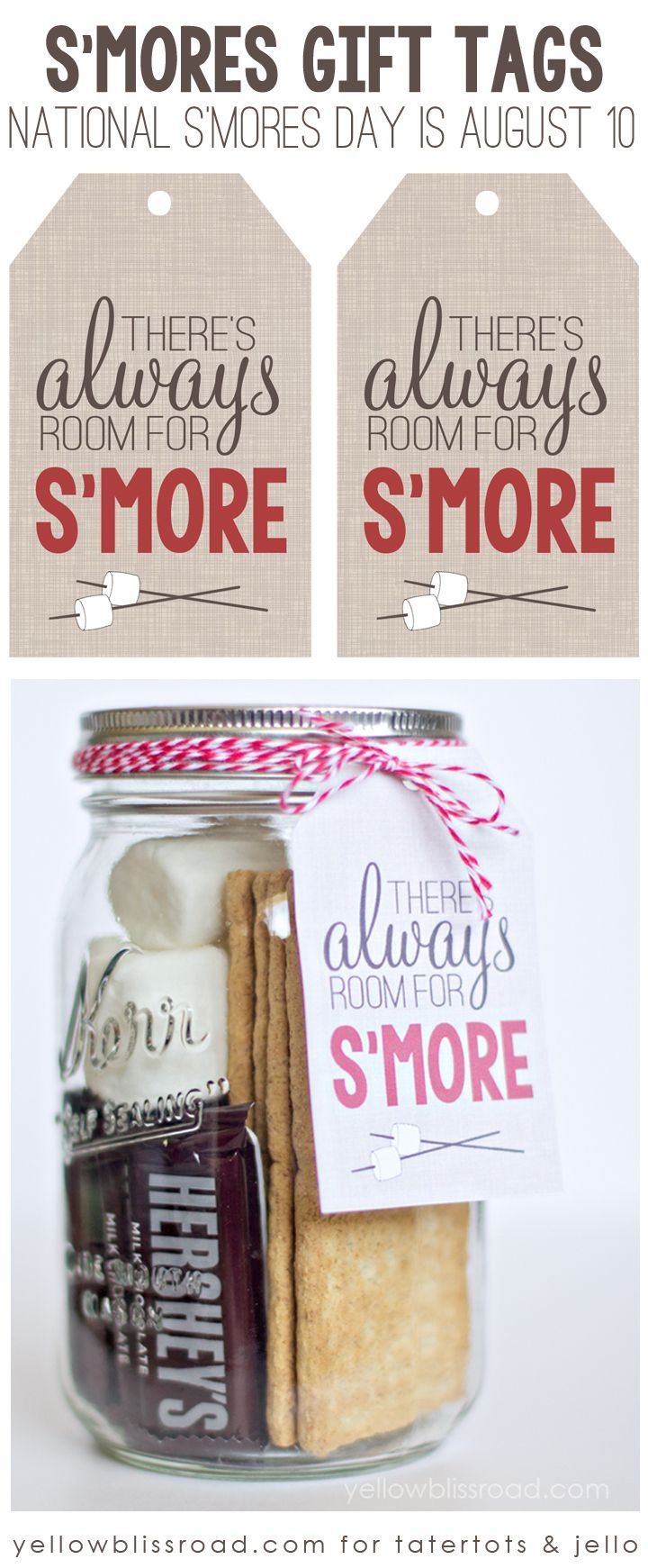 Free Printable S'mores Gift Tag   Sweets And Treats!   Food Gifts - Free Printable Mason Jar Gift Tags