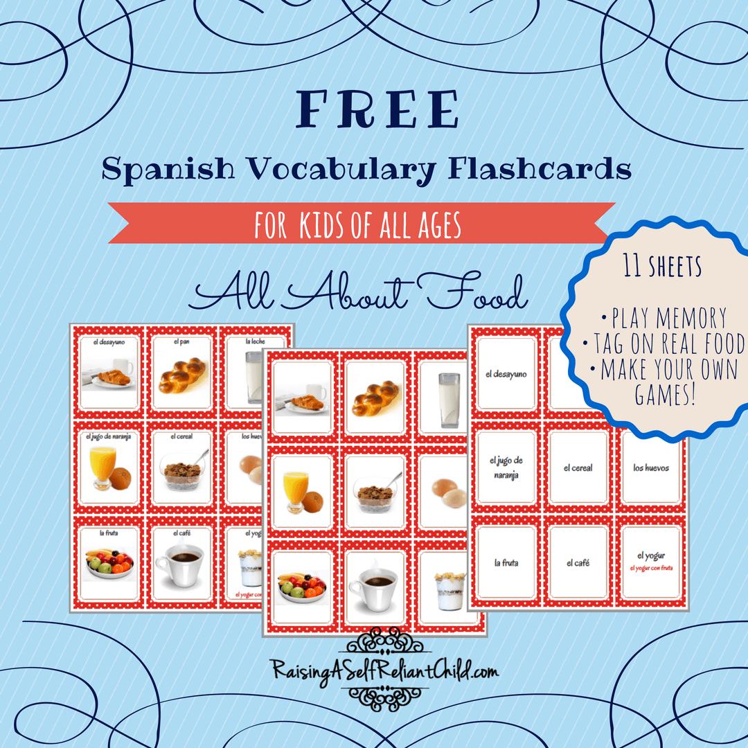 Free Printable Spanish Vocabulary Flashcards   Spanish   Spanish - Free Printable Vocabulary Flashcards