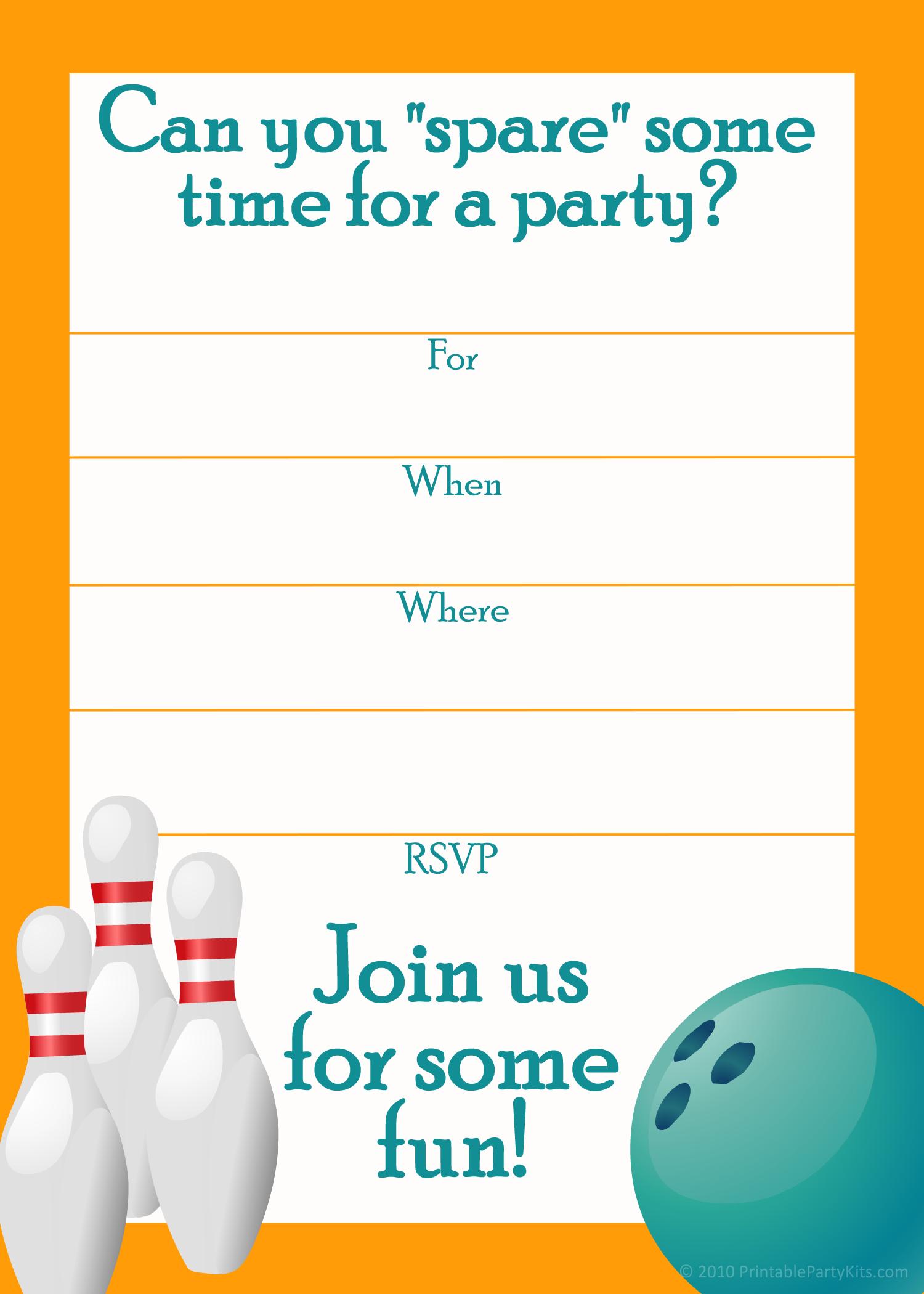 Free Printable Sports Birthday Party Invitations Templates | Party - Free Printable Bowling Invitation Templates