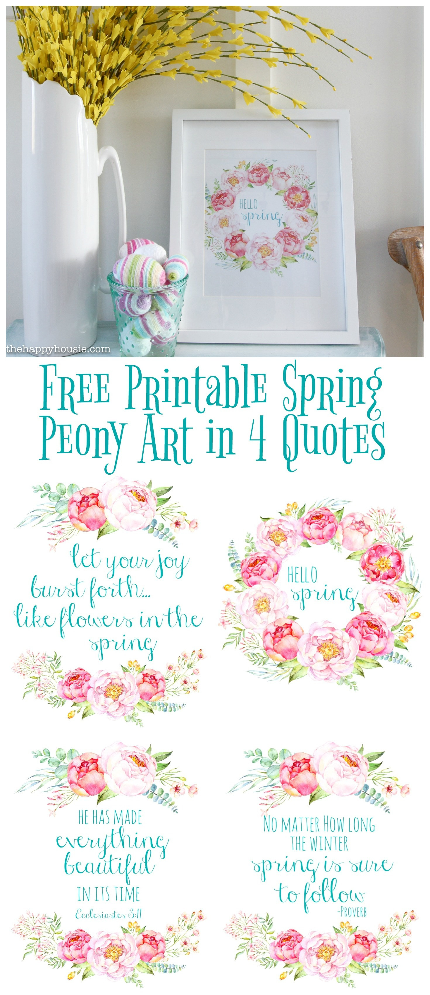 Free Printable Spring Peony Art & Easter Art | The Happy Housie - Free Printable Spring Decorations