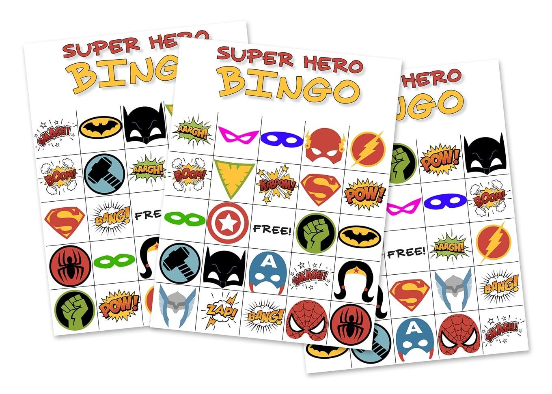 Free Printable Super Hero Bingo Party - Free Superhero Printables