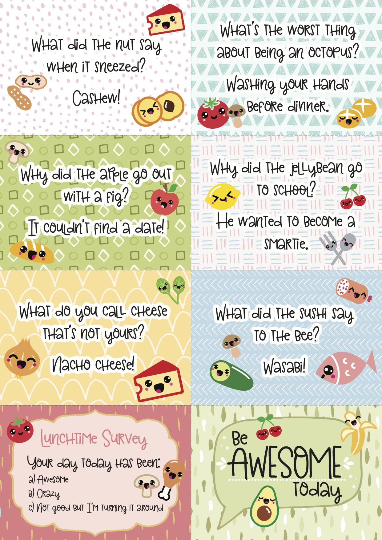 Free Printable Super-Kawaii Lunchbox Notes - Free Printable School Notes