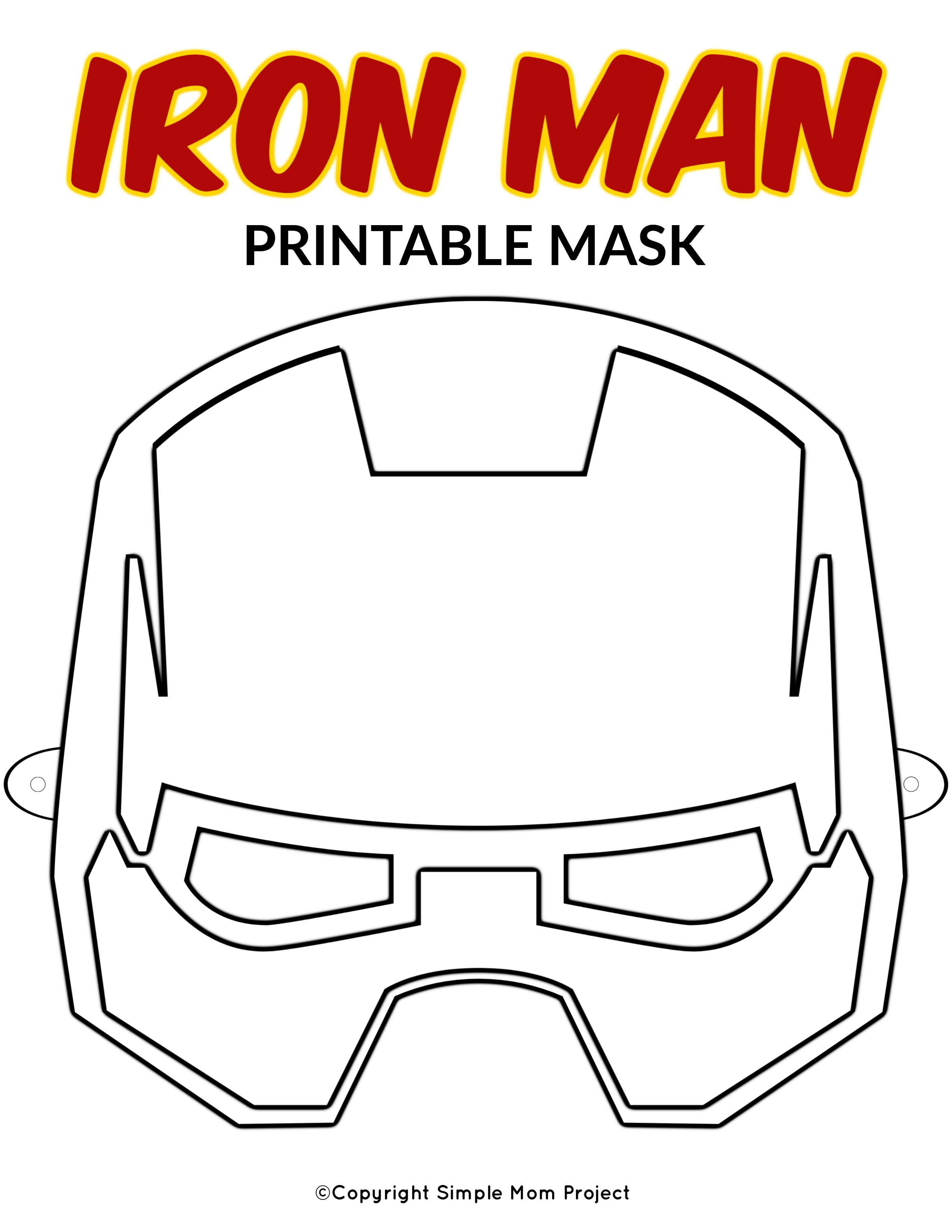 Free Printable Superhero Face Masks For Kids - Simple Mom Project - Free Printable Ironman Mask