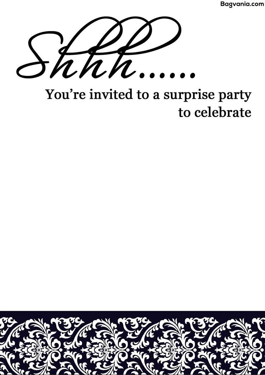 Free Printable Surprise Birthday Invitations – Bagvania Free - Free Printable Surprise Party Invitations