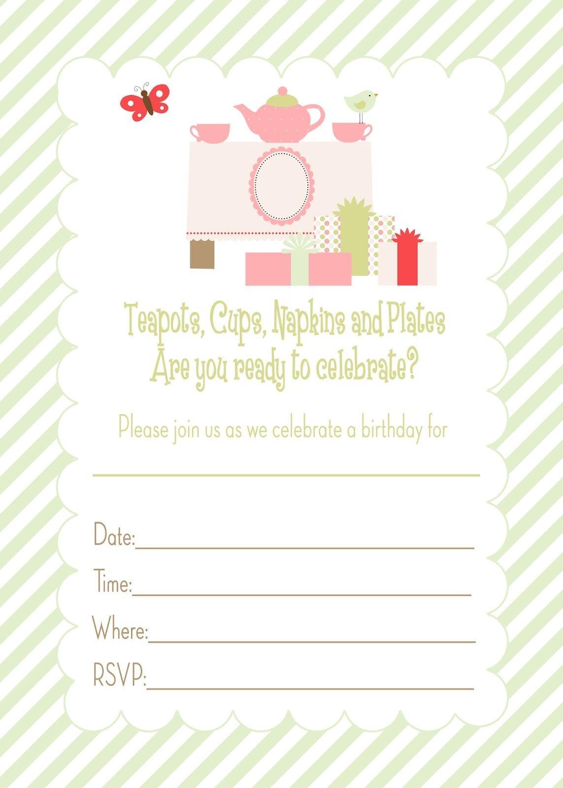 Free Printable Tea Party Birthday Invitation | Printables - Free Tea Party Printables