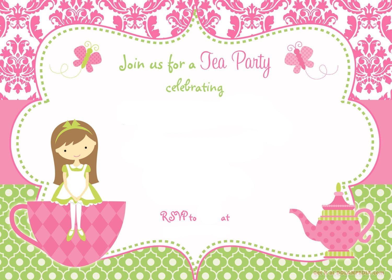 Free Printable Tea Party Invitation Template For Girl | Free - Free Printable Vintage Tea Party Invitations