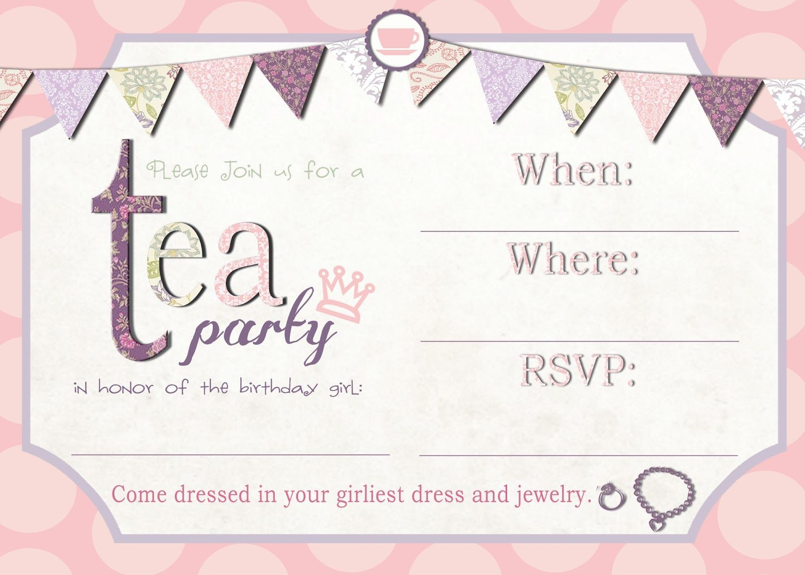 Free Printable Tea Party Invitation Template | Tea Party In 2019 - Free Vintage Tea Party Printables
