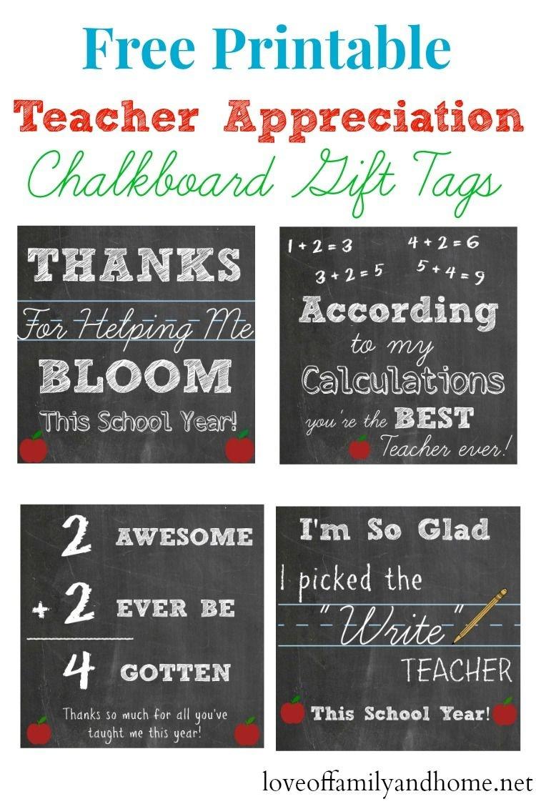 Free Printable Teacher Appreciation Chalkboard Gift Tags - Free Printable Teacher Appreciation Gift Tags