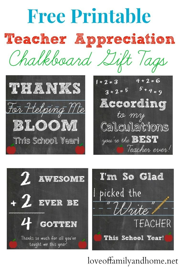 Free Printable Teacher Appreciation Chalkboard Gift Tags - Teacher Gift Tags Printable Free