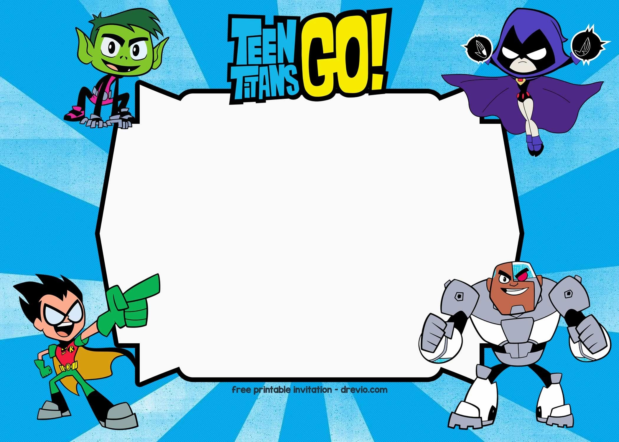 Free Printable Teen Titans Go Birthday Invitation   Logan   Teen - Free Printable Superhero Birthday Invitation Templates