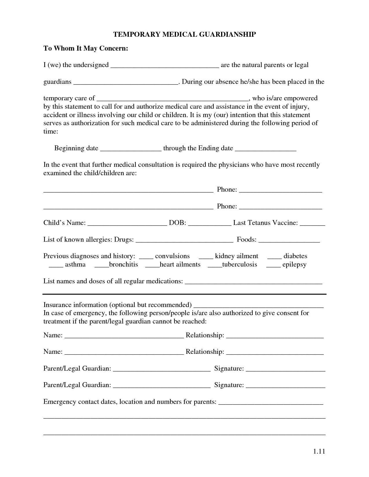 Free Printable Temporary Guardianship Forms | Forms | Child Custody - Free Printable Temporary Guardianship Form