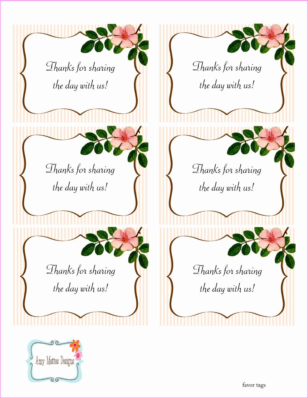 Free Printable Thank You Tags For Wedding Favors - Free Printable Favor Tags For Bridal Shower