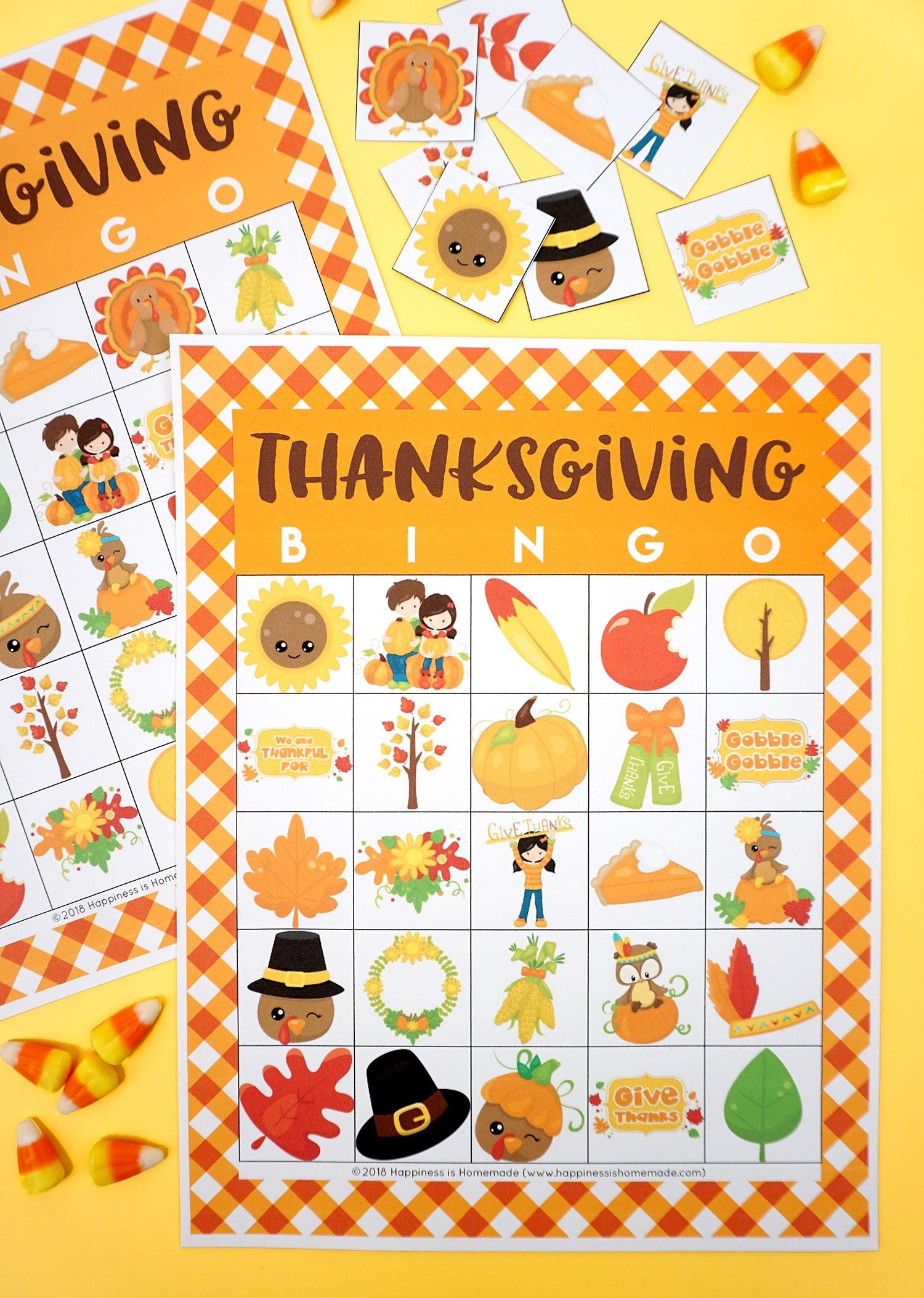 Free Printable Thanksgiving Bingo Cards - Happiness Is Homemade - Free Printable Thanksgiving Images