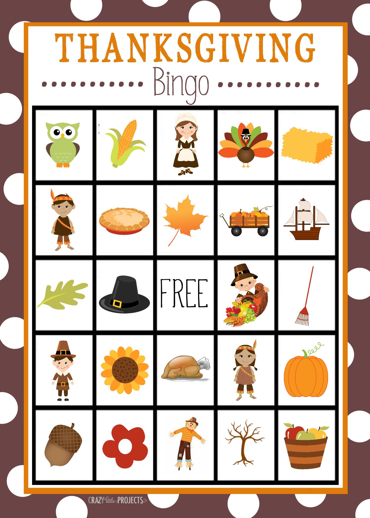 Free Printable Thanksgiving Bingo Game | Craft Time | Thanksgiving - Free Printable Thanksgiving Images
