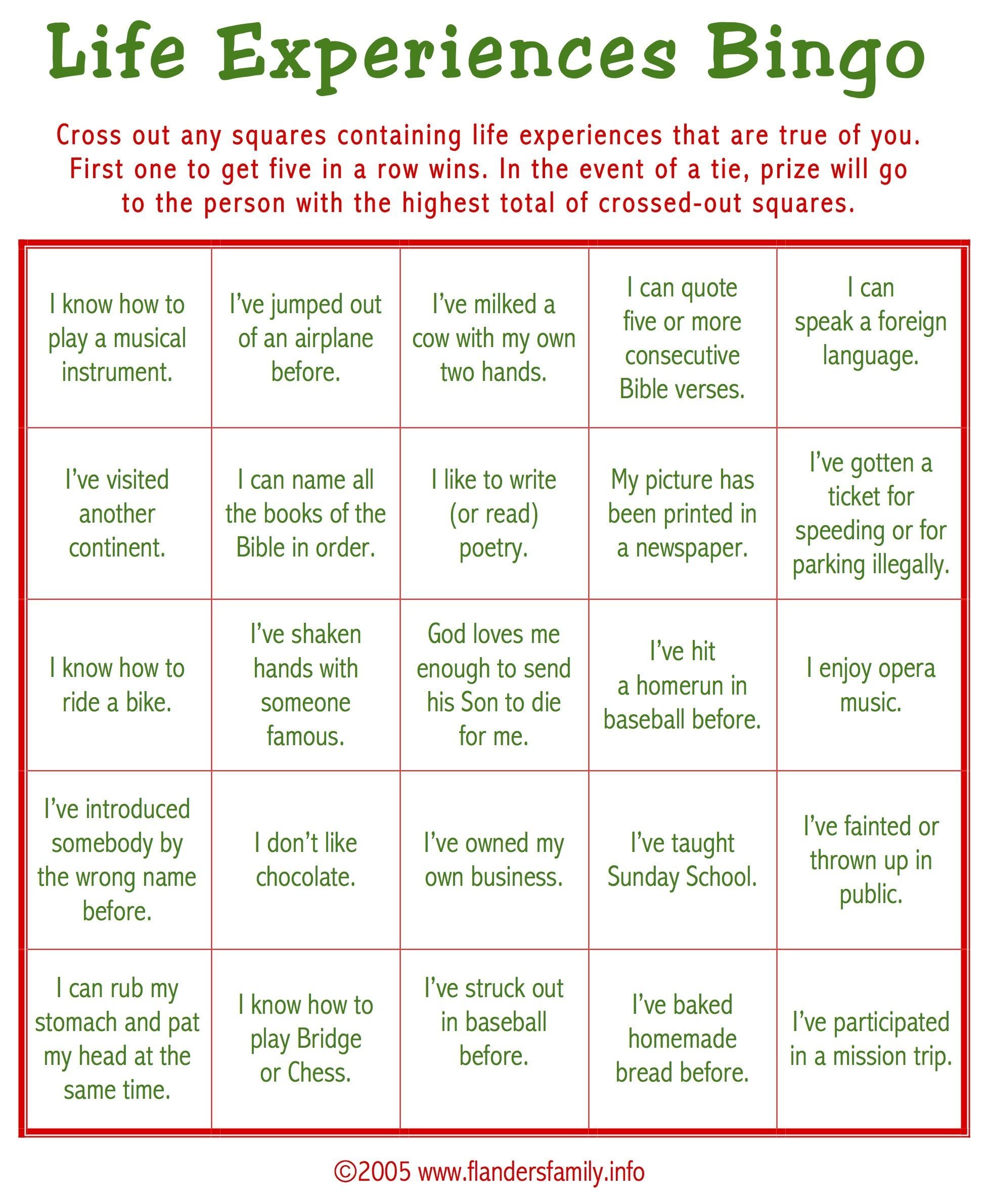 Free Printable: This Game Is A Great Ice Breaker. Play It While - Free Printable Group Games