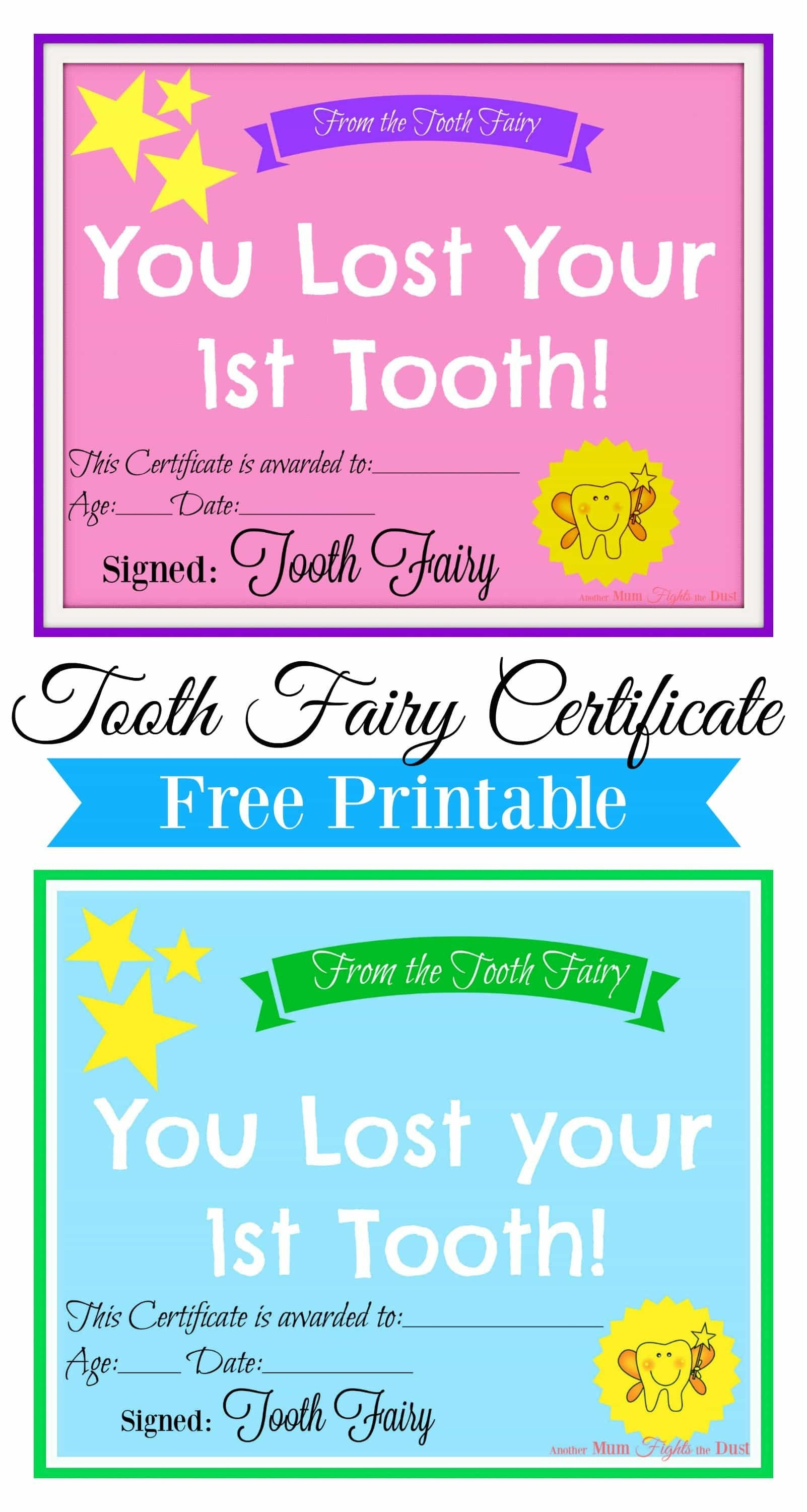 Free Printable Tooth Fairy Certificate | Tooth Fairy Ideas | Tooth - Free Tooth Fairy Printables