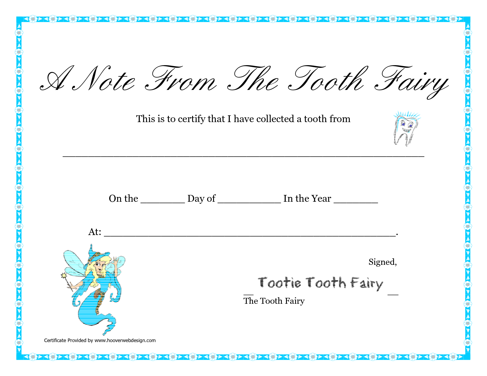 Free Printable Tooth Fairy Letter   Tooth Fairy Certificate - Free Printable Notes From The Tooth Fairy