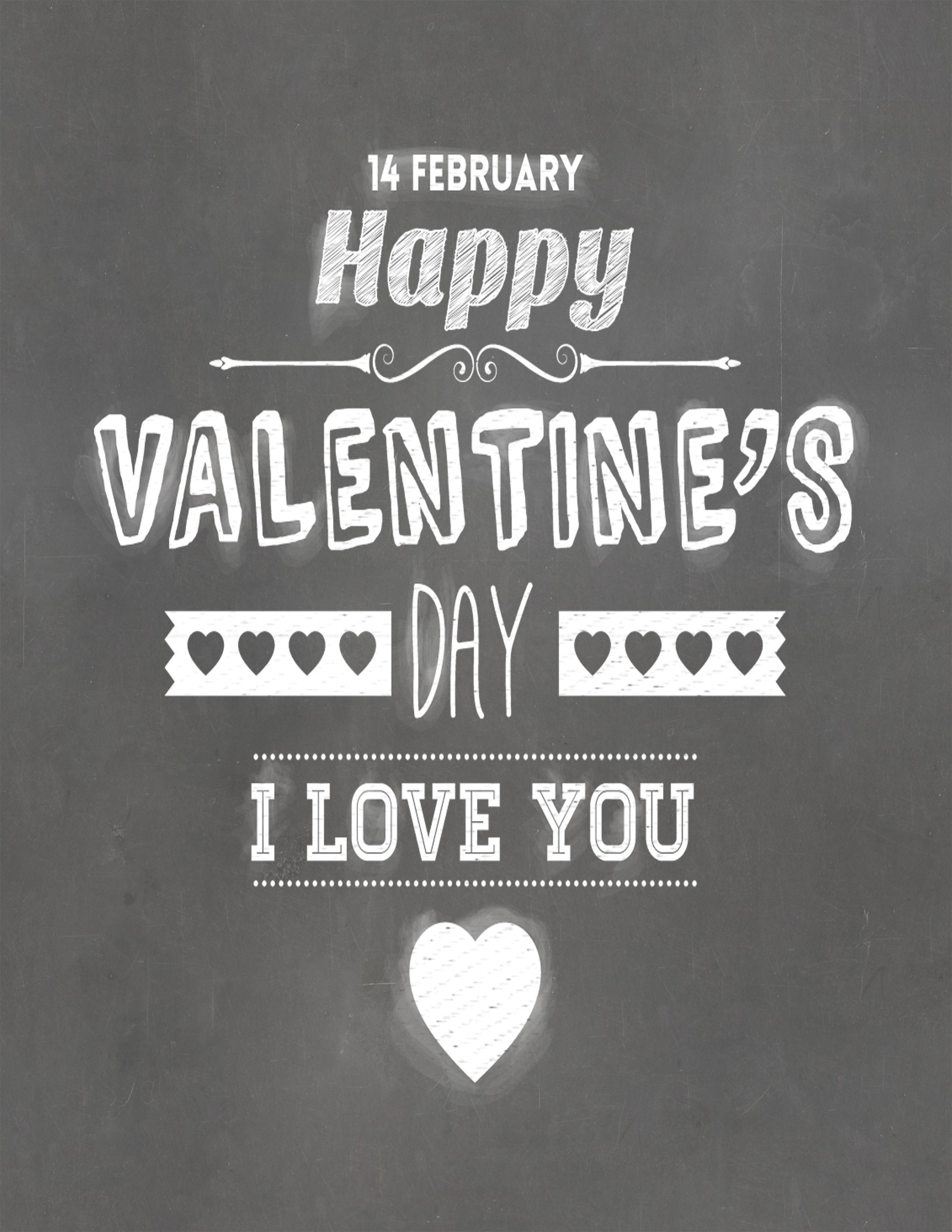 Free Printable Typography Poster - Happy Valentine's Day Chalkboard - Free Printable Typography Posters