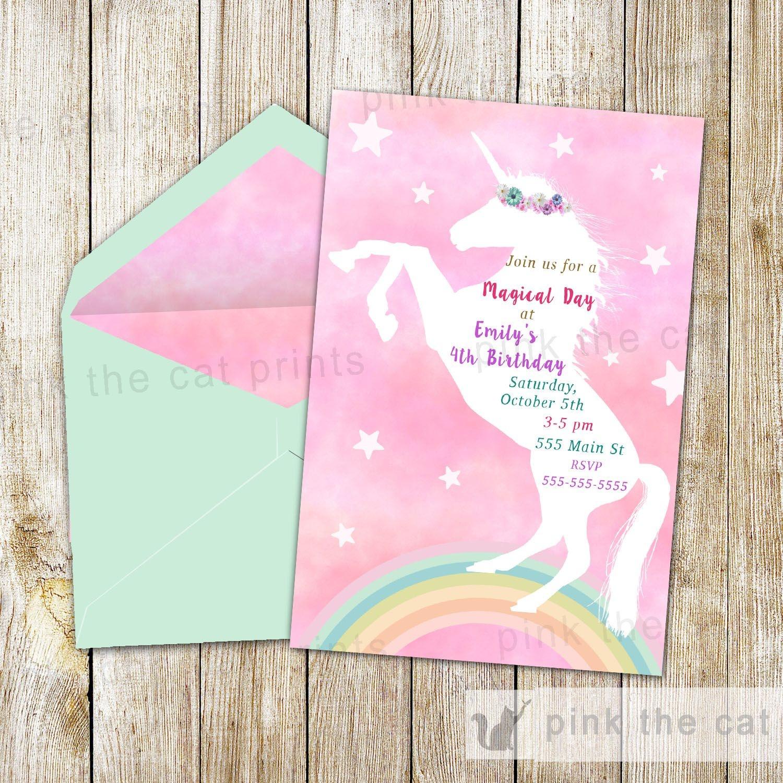 Free Printable Unicorn Invitations | Freebies | Unicorn Invitations - Free Printable Unicorn Birthday Invitations