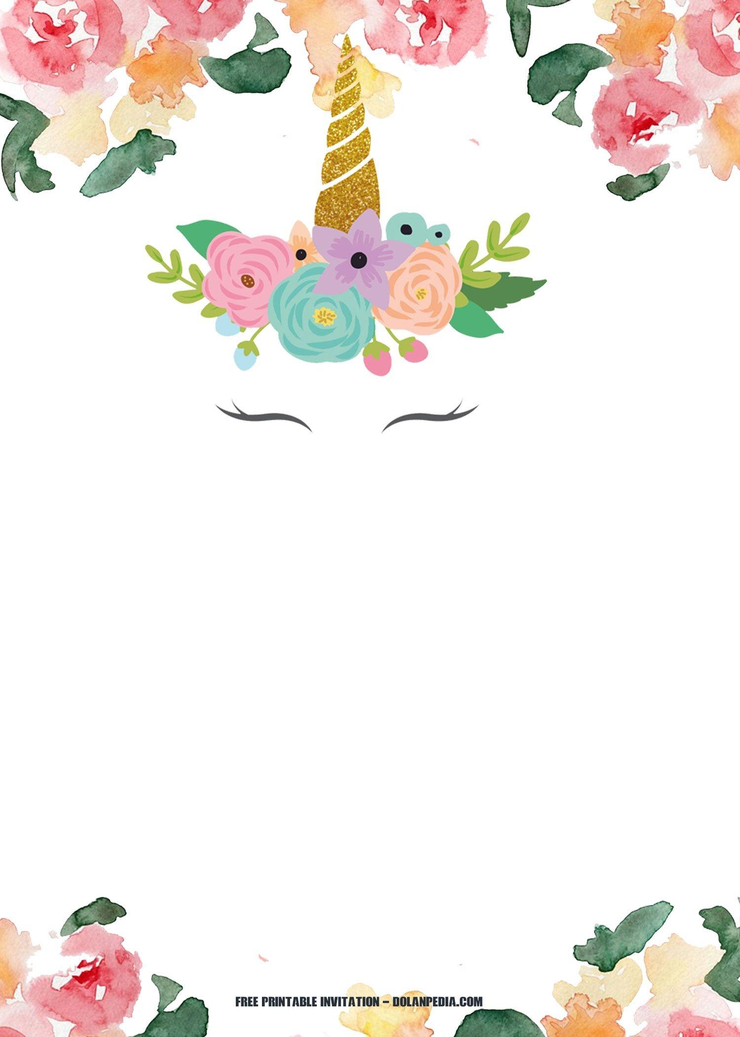 Free Printable Unicorn Rainbow Invitation   Free Printable - Free Printable Unicorn Template