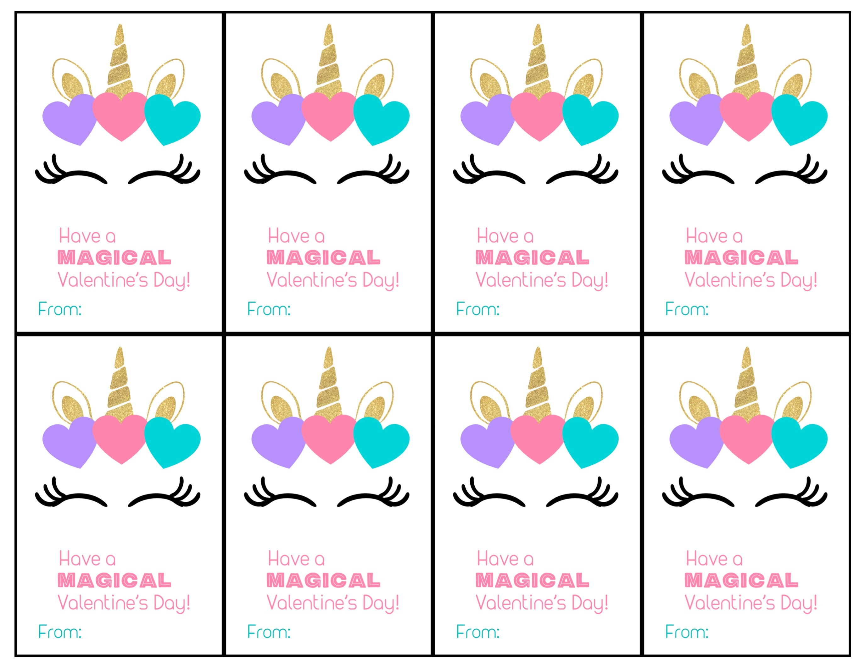 Free Printable Unicorn Valentine Cards - Paper Trail Design - Valentine Free Printable Cards