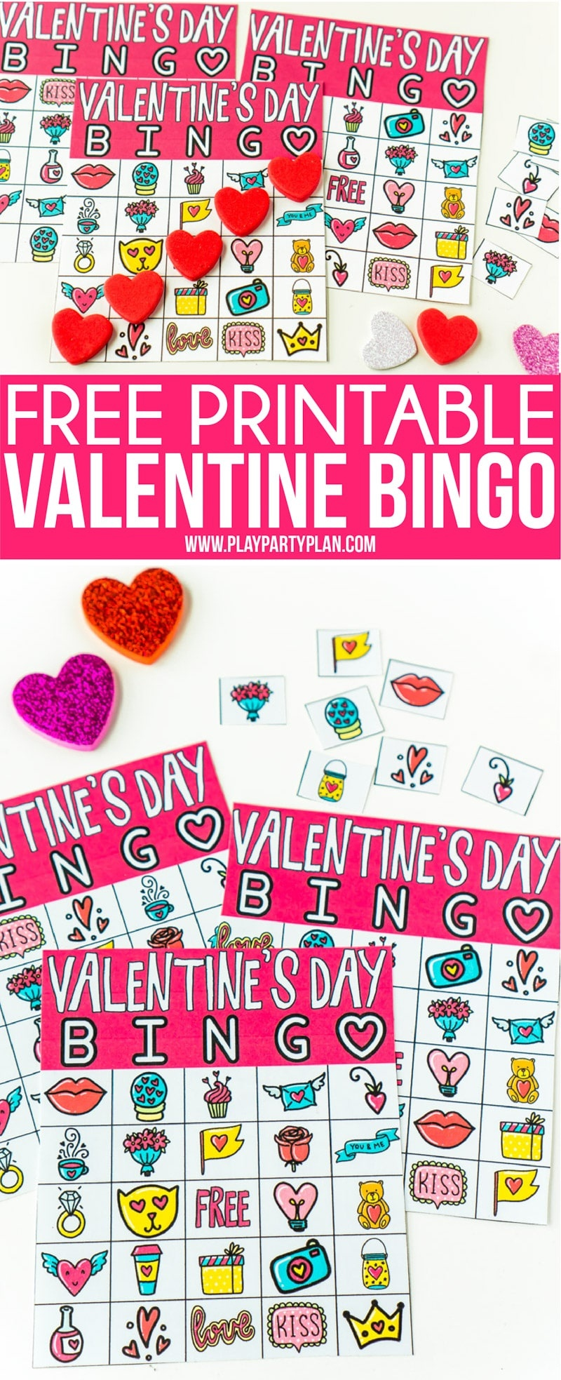 Free Printable Valentine Bingo Cards For All Ages - Play Party Plan - Valentine Bingo Game Printable Free