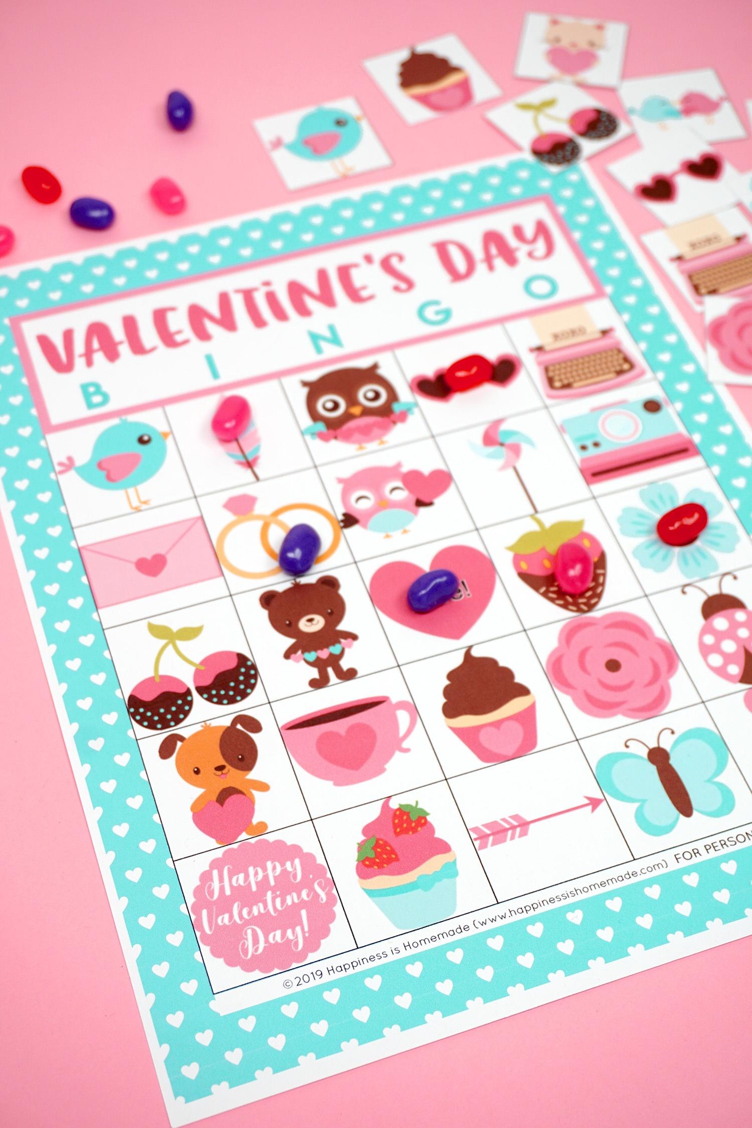 Free Printable Valentine Bingo - Happiness Is Homemade - Free Printable Valentine Party Games For Adults