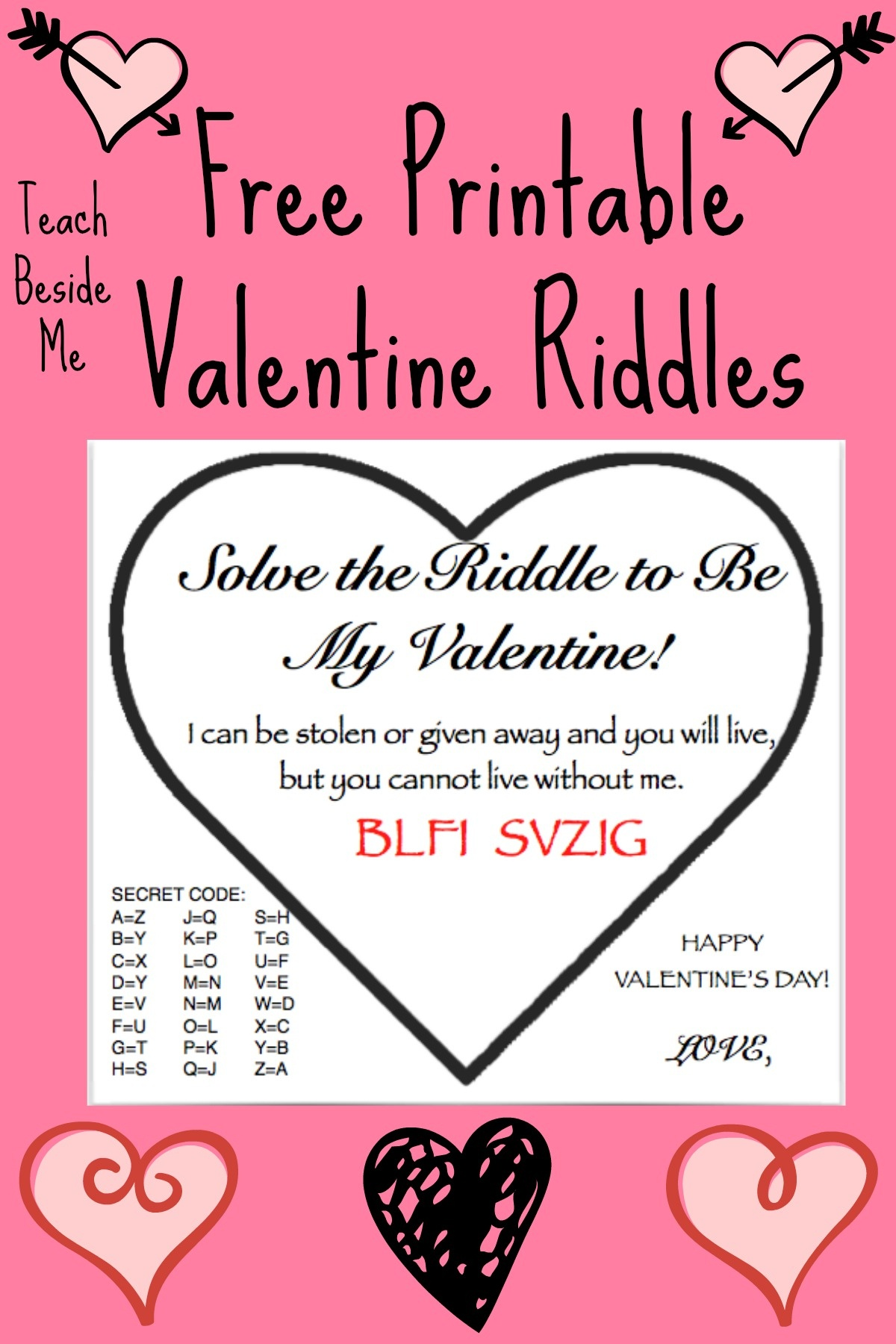 Free Printable Valentine Riddle Cards – Teach Beside Me - Free Printable Riddles