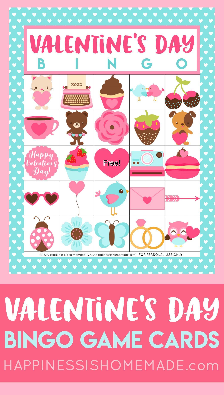 Free Printable Valentine's Day Bingo Cards - Happiness Is Homemade - Valentine Bingo Game Printable Free