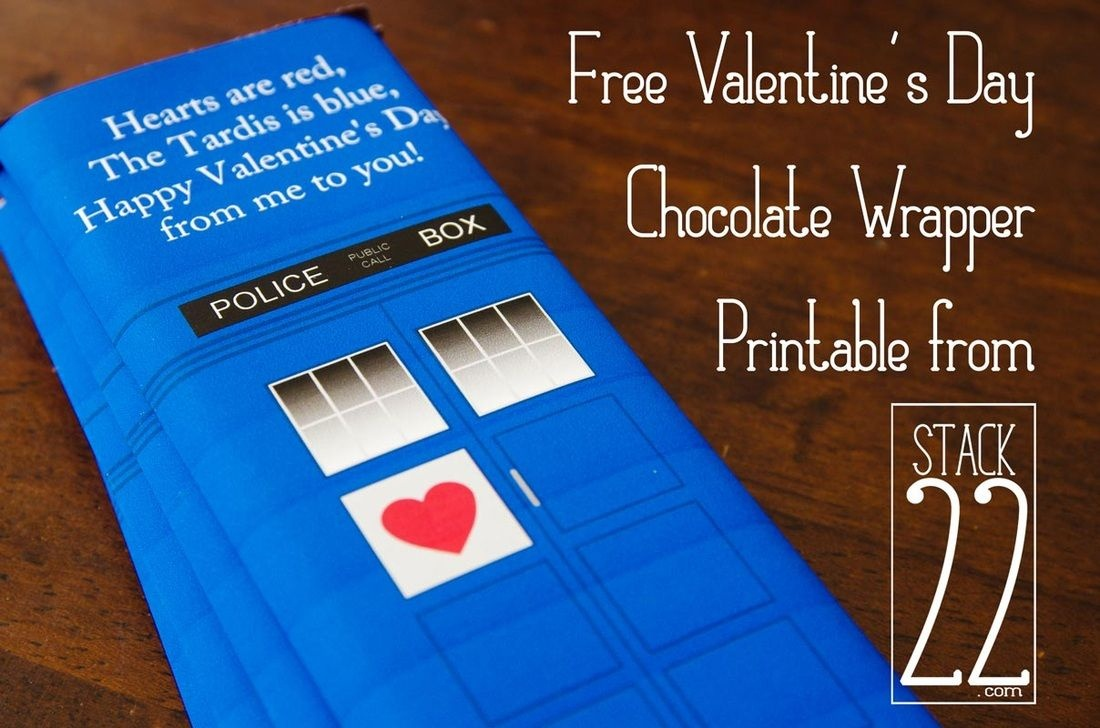 Free Printable - Valentine's Day Chocolate Bar Wrapper . Tardis . Dr - Free Printable Doctor Who Valentines
