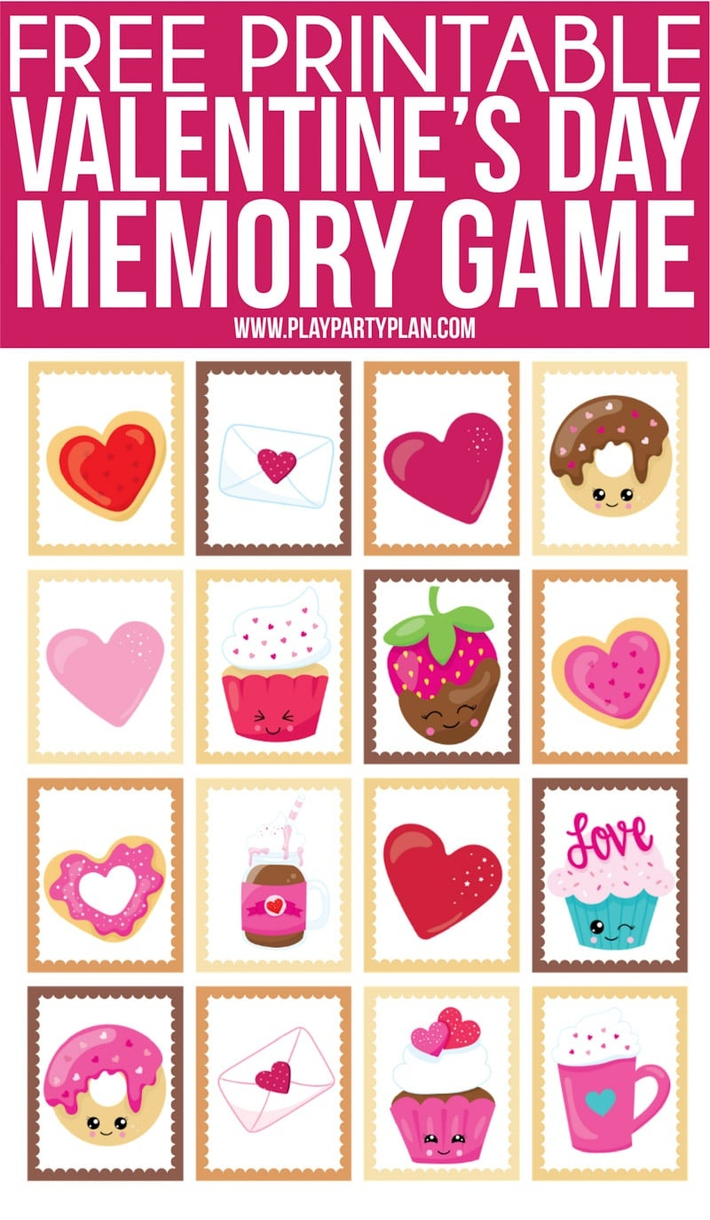 Free Printable Valentine's Day Memory Games For Kids - Play Party Plan - Free Printable Adult Valentines Day Cards