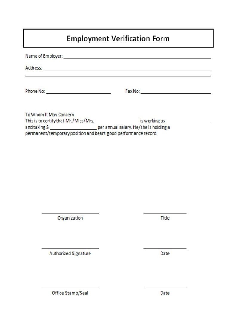 Free Printable Verification Of Employment Form | Shop Fresh - Free Printable Employment Verification Letter