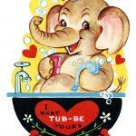 Free Printable Vintage Valentine Elephant In Tub   Old Design Shop Blog   Free Printable Vintage Valentine Clip Art