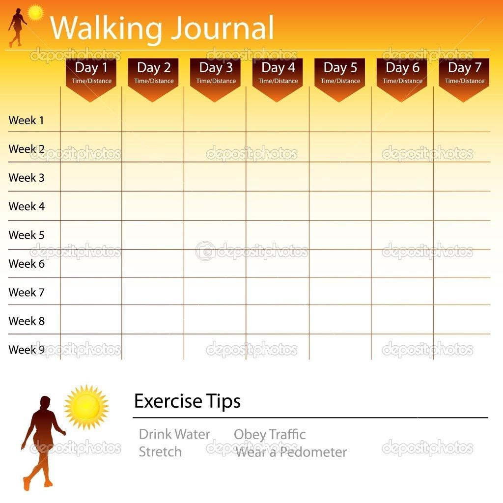 Free Printable Walking Log Chart   Walking Journal Chart   Stock - Free Printable Walking Log