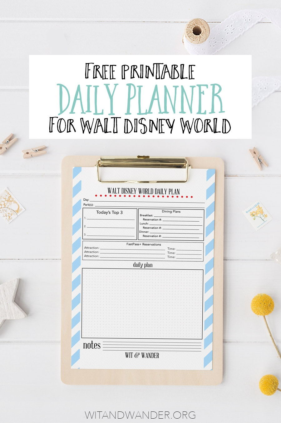 Free Printable Walt Disney World Daily Planner - Our Handcrafted Life - Free Disney Planning Binder Printables