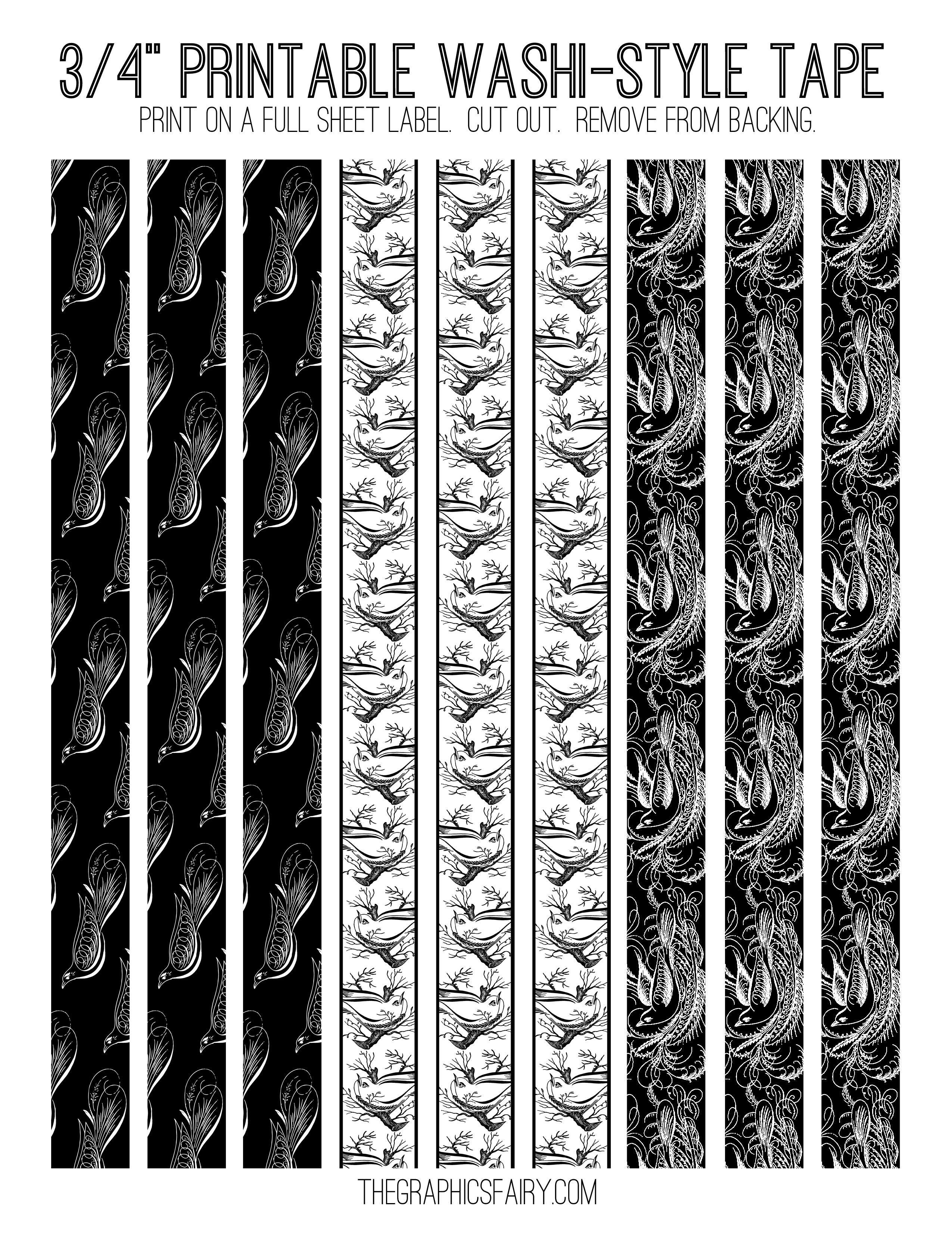 Free Printable Washi Tape!   Bullet Journal   Washi Tape Planner - Free Printable Washi Tape