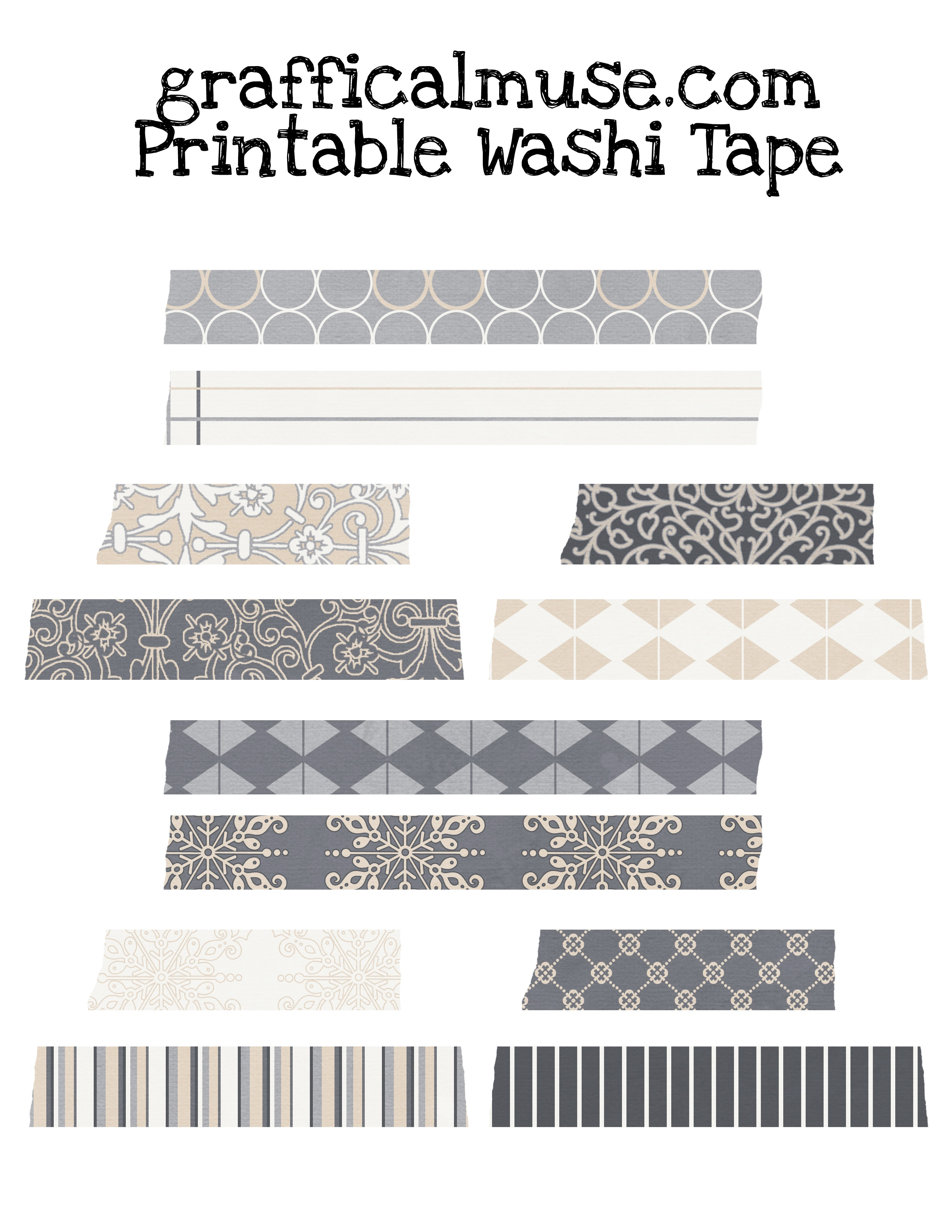 Free Printable Washi Tape - Neutral Patterns - The Graffical Muse - Free Printable Washi Tape