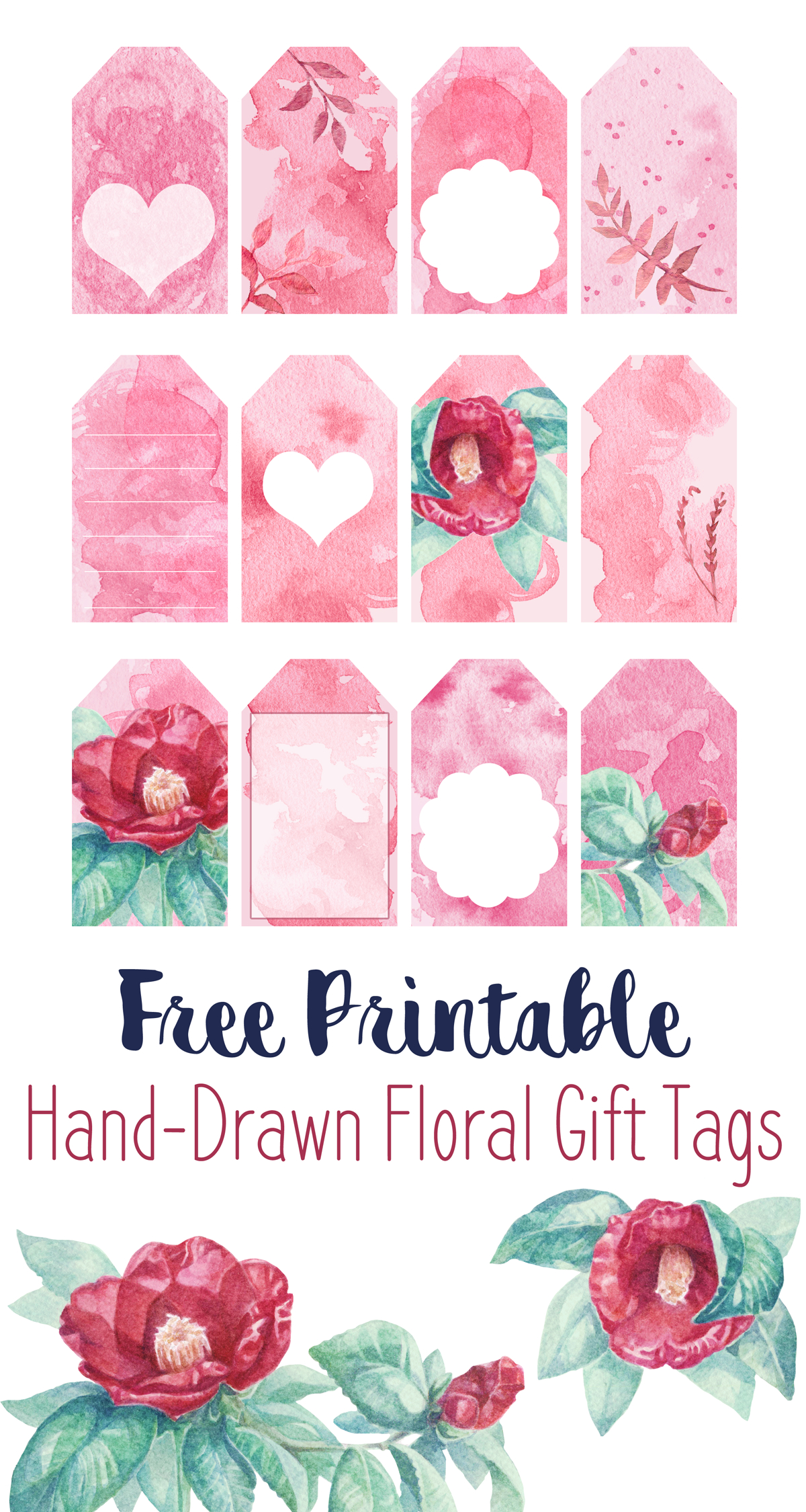 Free Printable Watercolor Flower Gift Tags! Hand-Drawn Art Turned - Free Printable Floral Labels