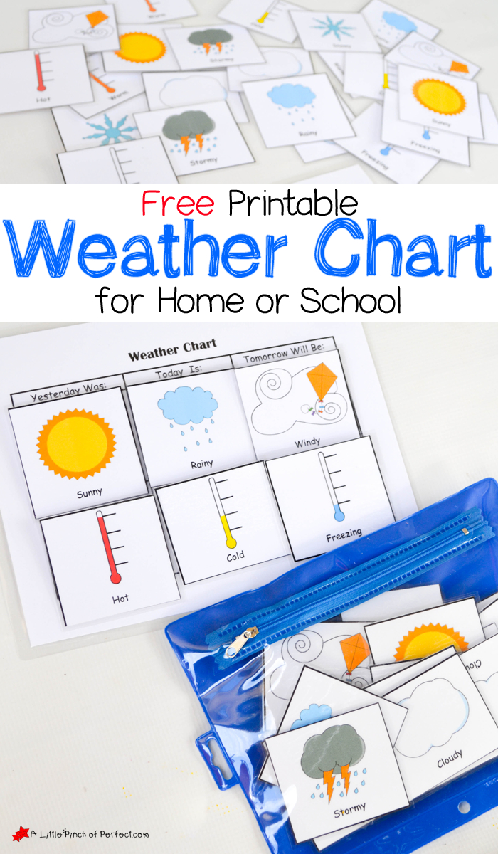 Free Printable Weather Chart For Home Or School   A Little Pinch Of - Free Printable Weather Chart For Preschool