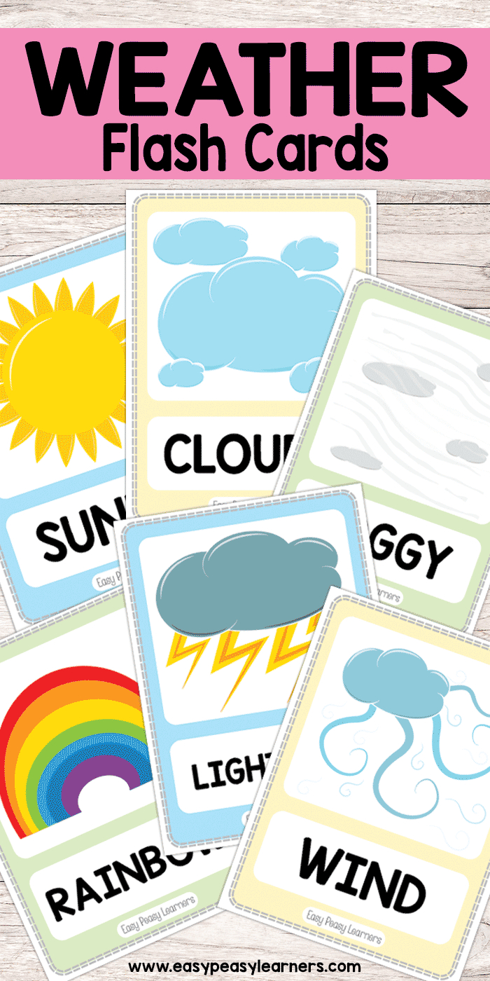 Free Printable Weather Flash Cards   Must Do Crafts And Activities - Free Printable Weather Chart For Preschool