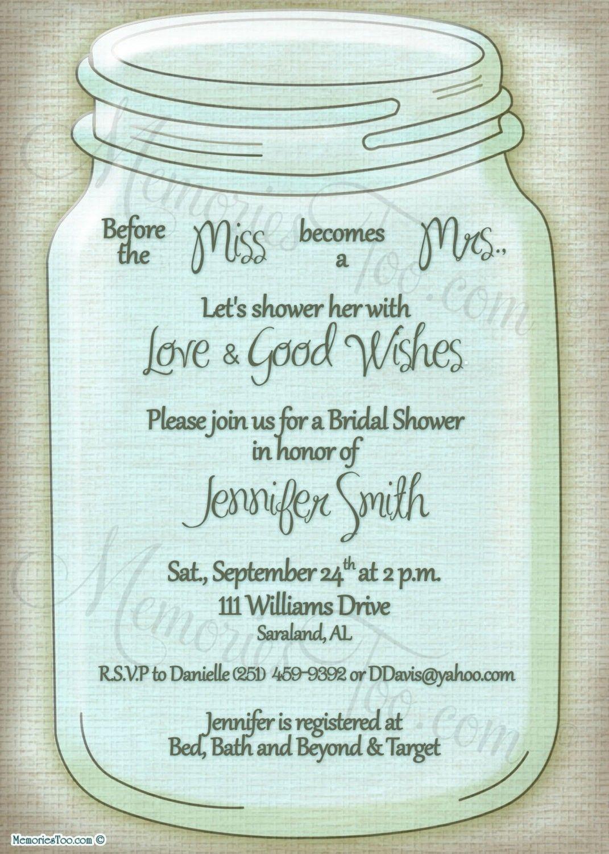 Free Printable Wedding Invitations Mason Jars | Rustic Wedding Ideas - Free Printable Mason Jar Invitation Template