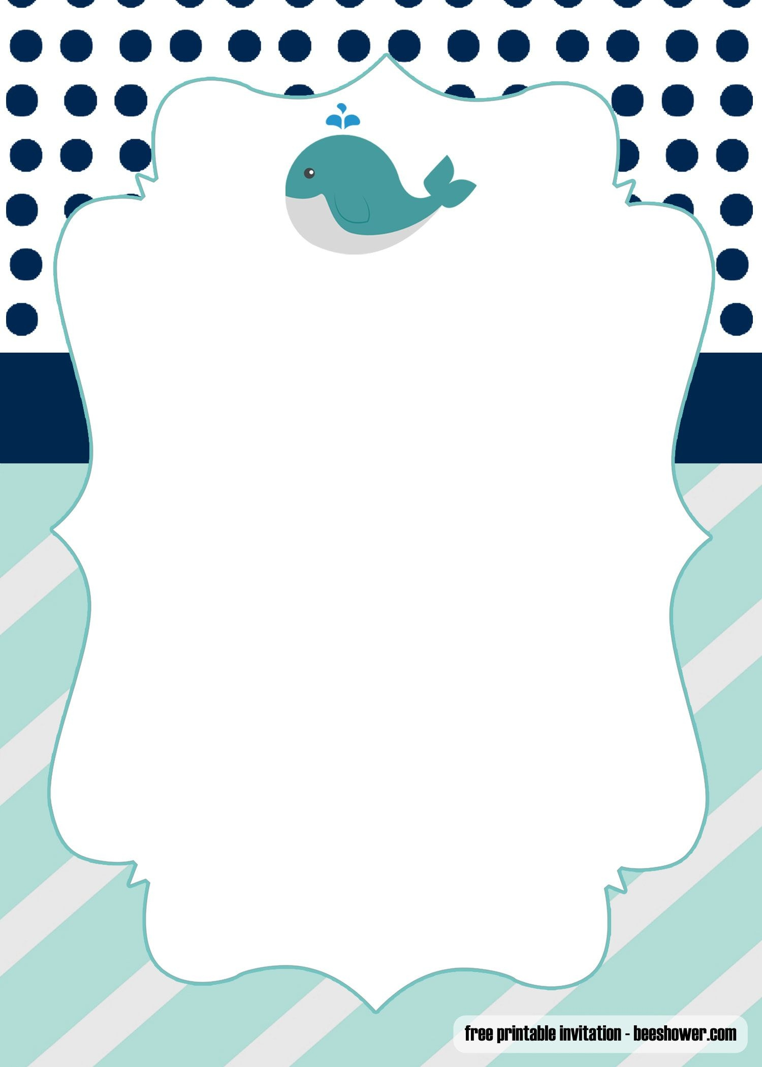 Free Printable Whale Baby Shower Invitations | Free Printable - Free Printable Turtle Baby Shower Invitations