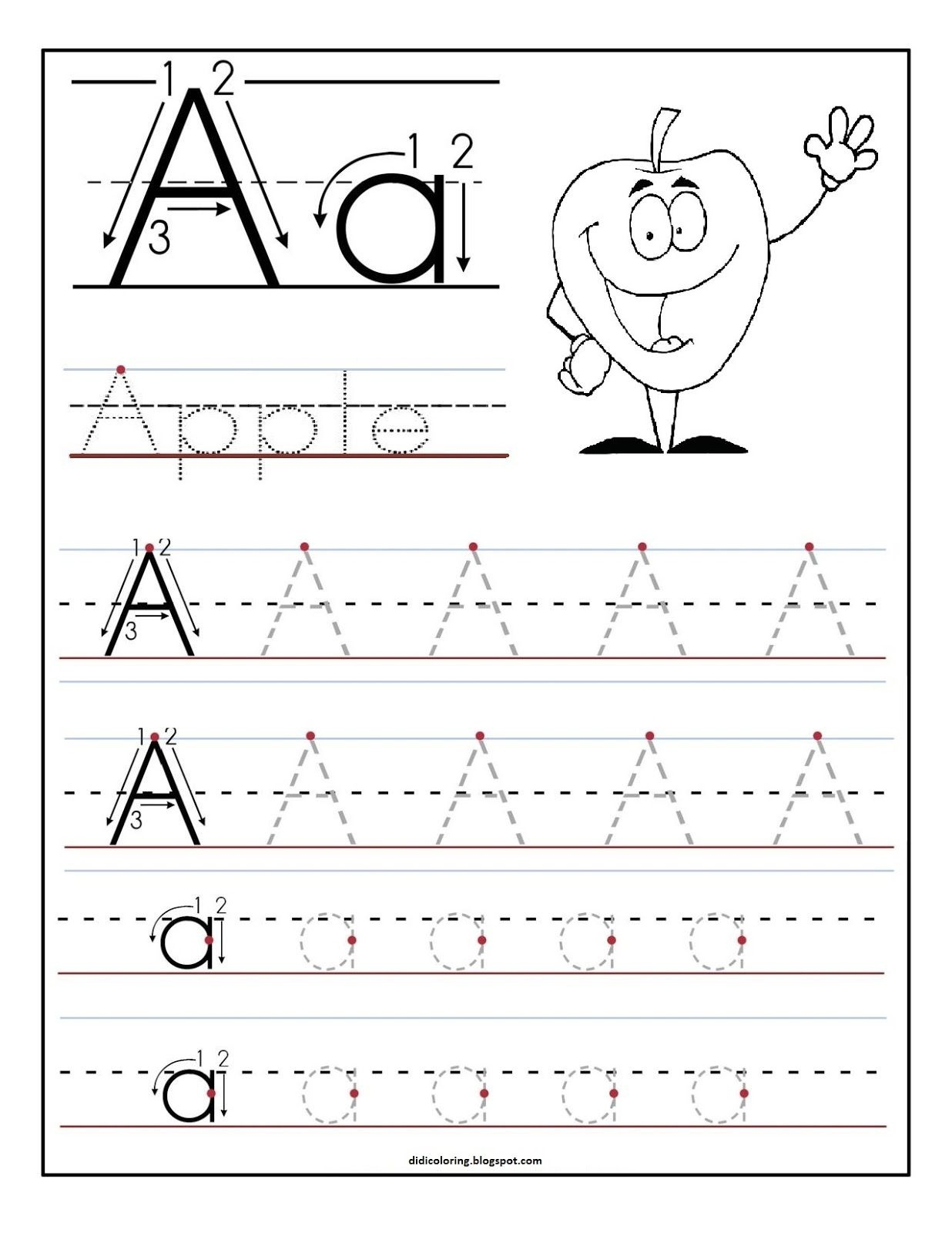 Free Printable Worksheet Letter A For Your Child To Learn And Write - Learning To Write Letters Free Printables