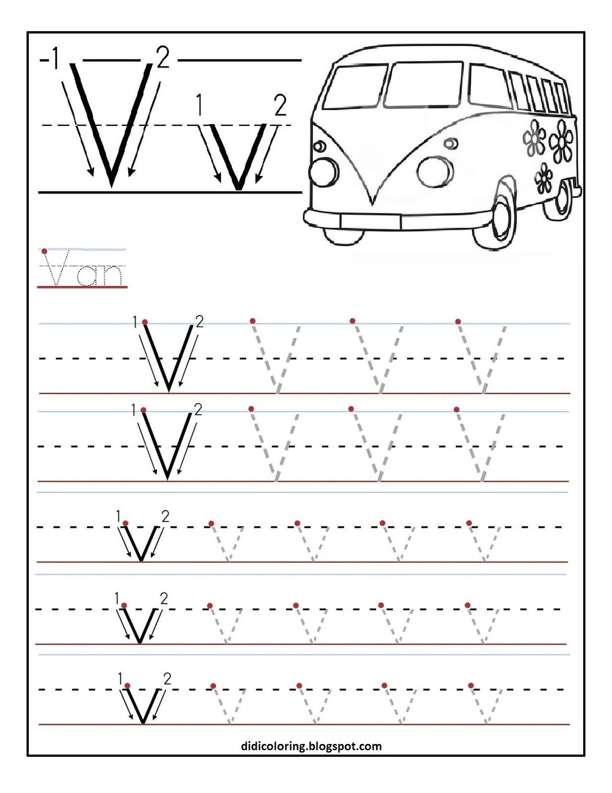 Free Printable Worksheet Letter V For Your Child To Learn And Write - Learning To Write Letters Free Printables