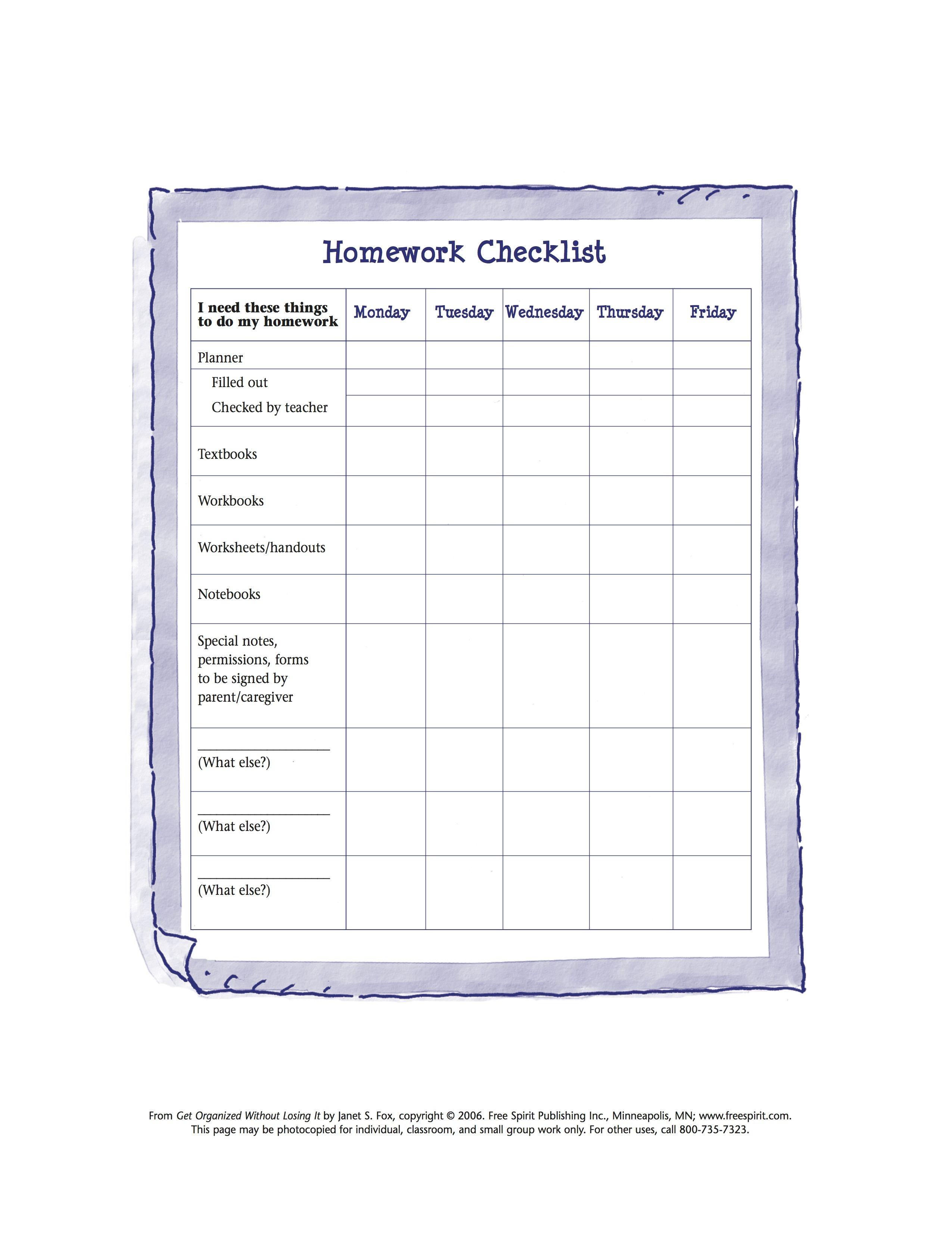 Free Printable Worksheet To Help Kids Organize Tools Needed For - Free Printable Homework Templates