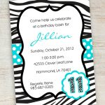 Free Printable Zebra Party Invitations | Printable Pink Turquoise   13Th Birthday Party Invitations Printable Free
