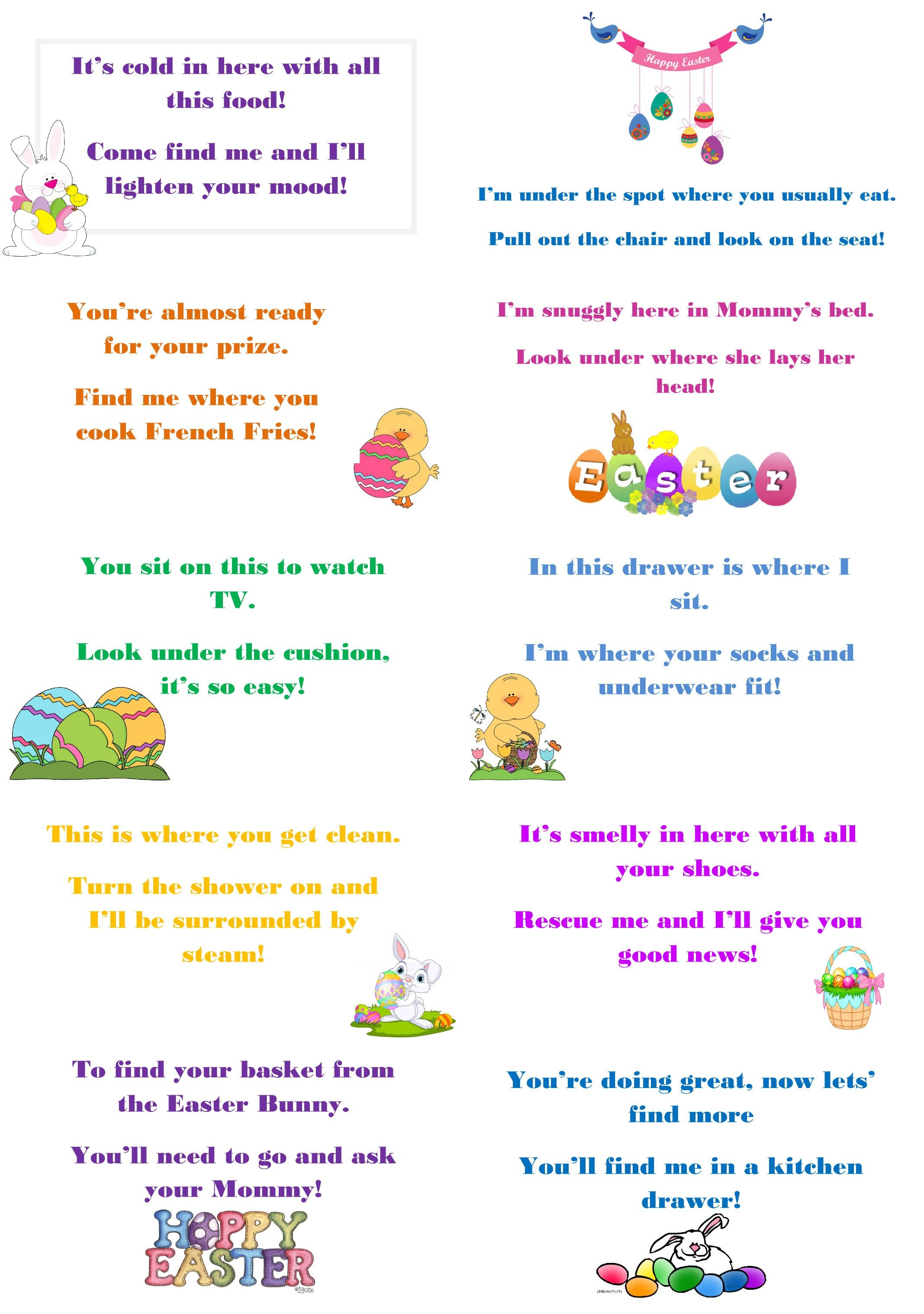 Free Printables From Clutterbug - Cleaning, Decluttering, Organizing - Free Printable Easter Egg Hunt Riddles