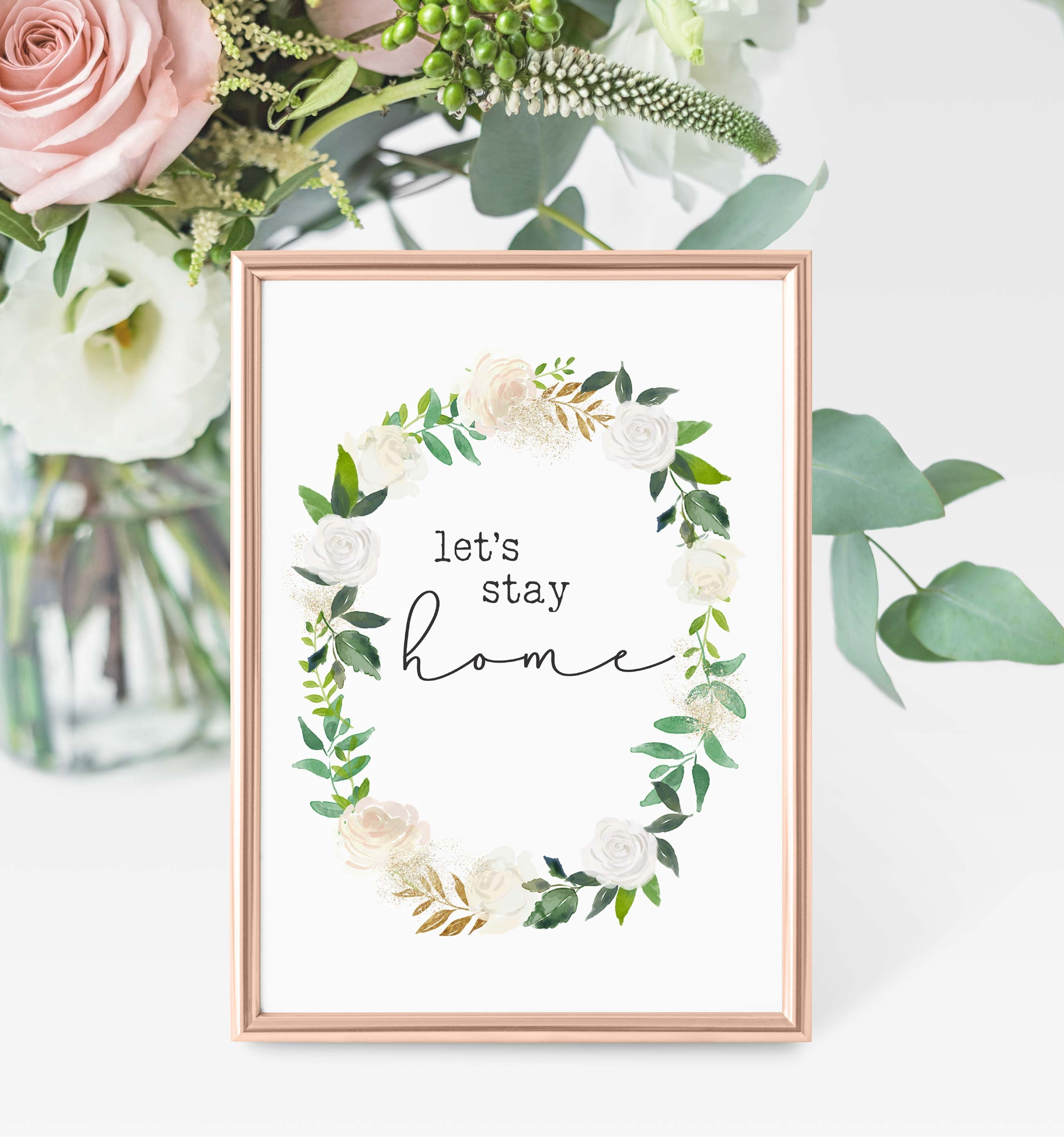 Free Printables - Let's Stay Home | The Harper House - Free Watercolor Printables
